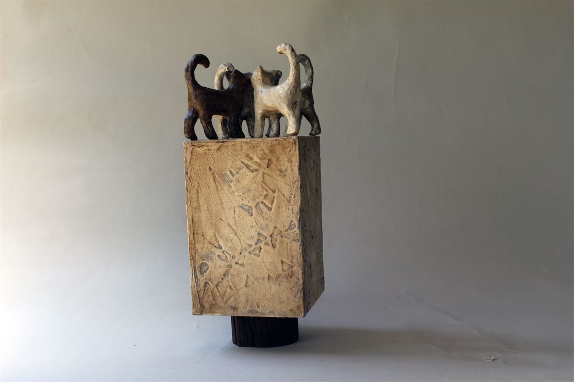 THE GATHERING, a Uniquely Creative, One of a Kind Cremation Art Urn for a Cat