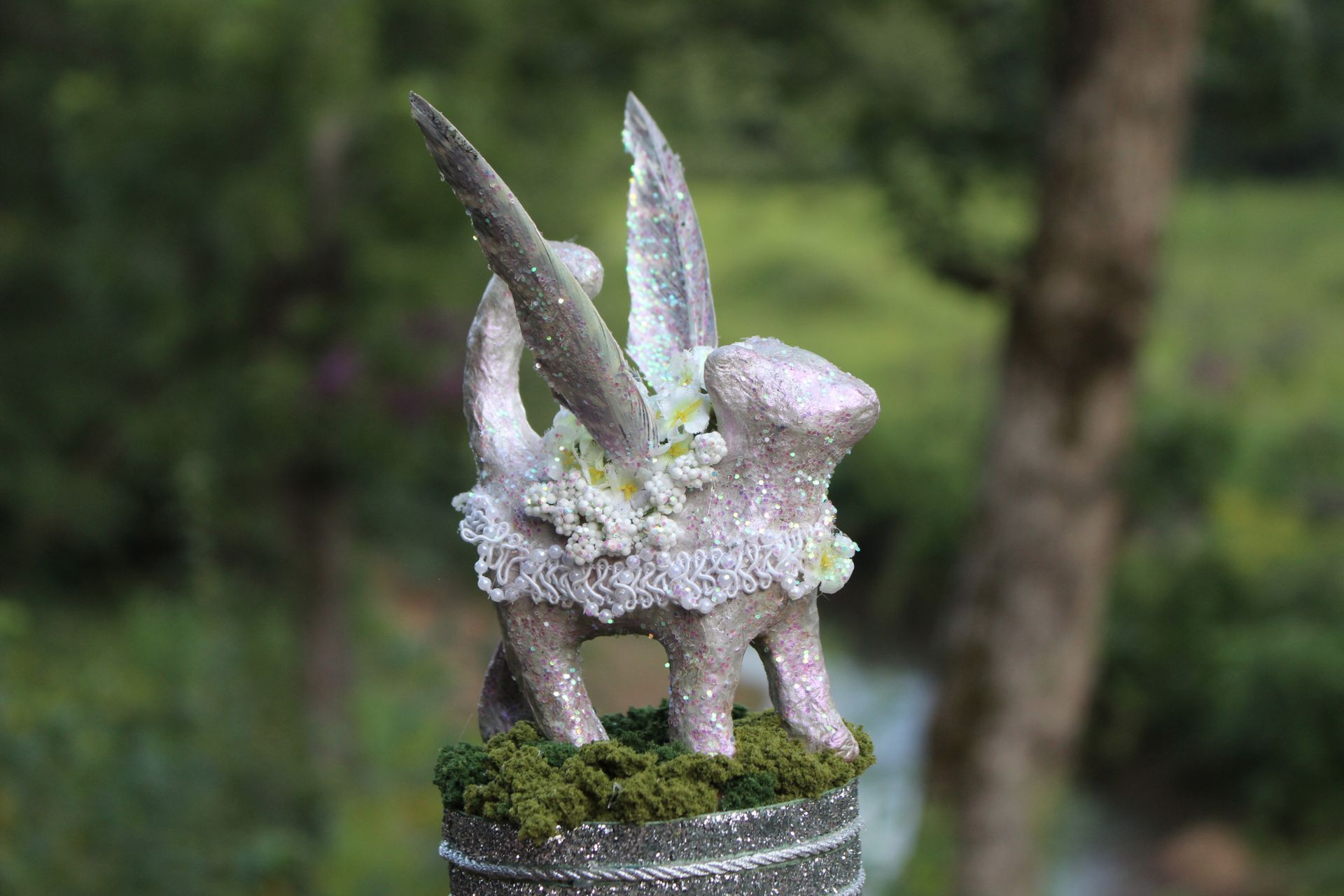 SPARKLE KITTY, an Endearing, One of a Kind Feline Cremation Art Urn
