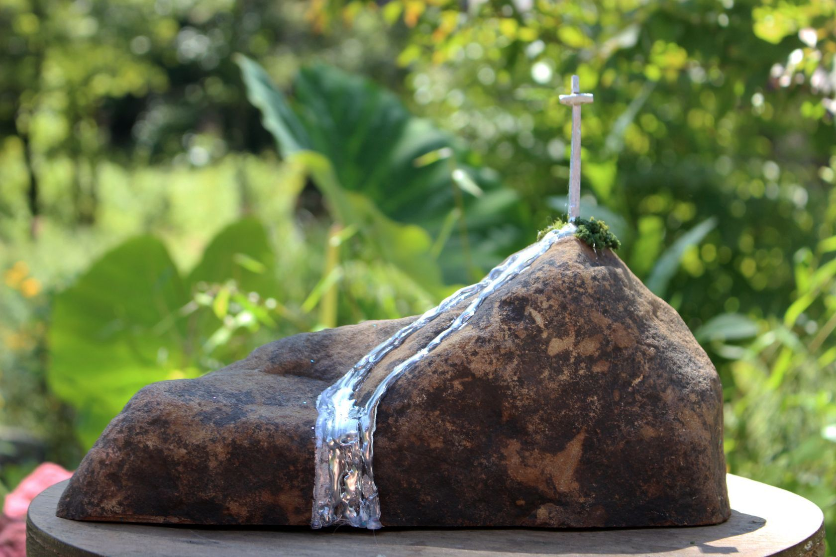 STREAM and CROSS, a One of a Kind, Unique, Christian-oriented Keepsake or Sharing Cremation Urn for Human or Pet Ashes