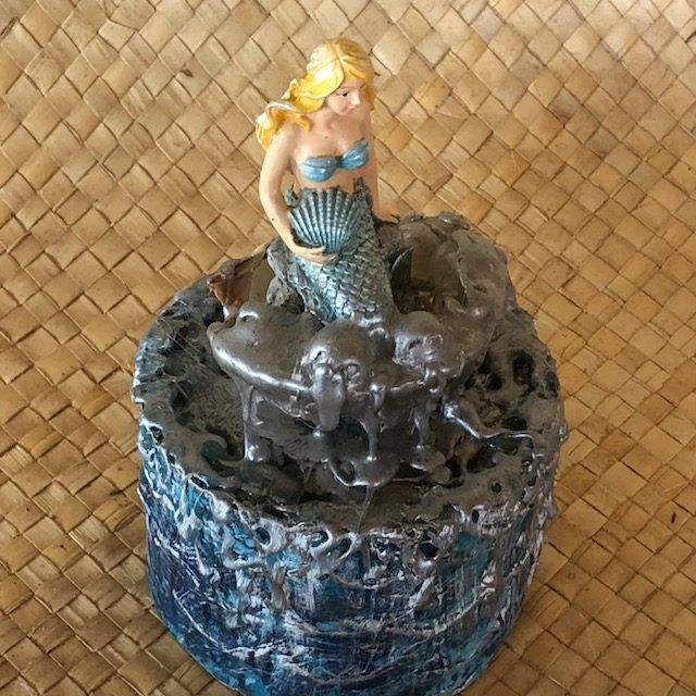 MERMAID, a Whimsical Small or Sharing Cremation Art Urn for Human or Pet Ashes