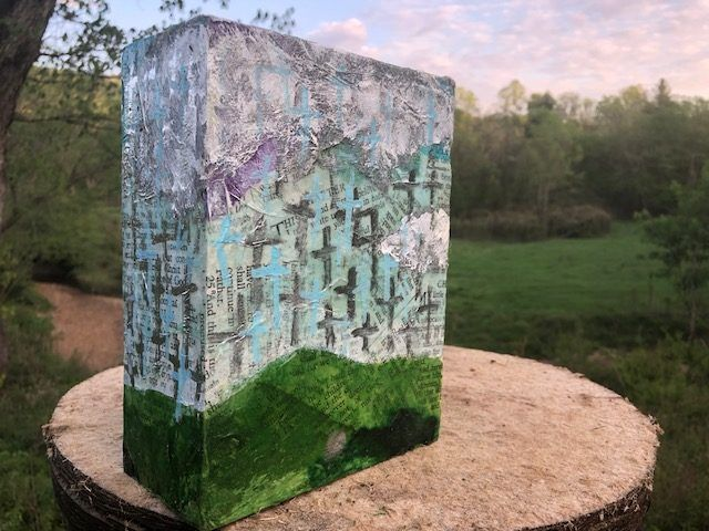 MOUNTAIN VIEW, a Unique, Handmade, Full-Size Cremation Art Urn for Adult Human Ashes