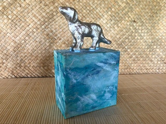 """Sky Dog,"" an Affordable Dog Cremation Urn, a One of a Kind Cremation Art Urn"