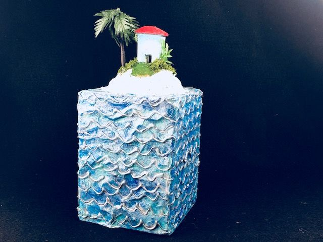 ISLAND PARADISE, a Unique, One of a Kind, Full Size Cremation Urn for Human or Pet Ashes