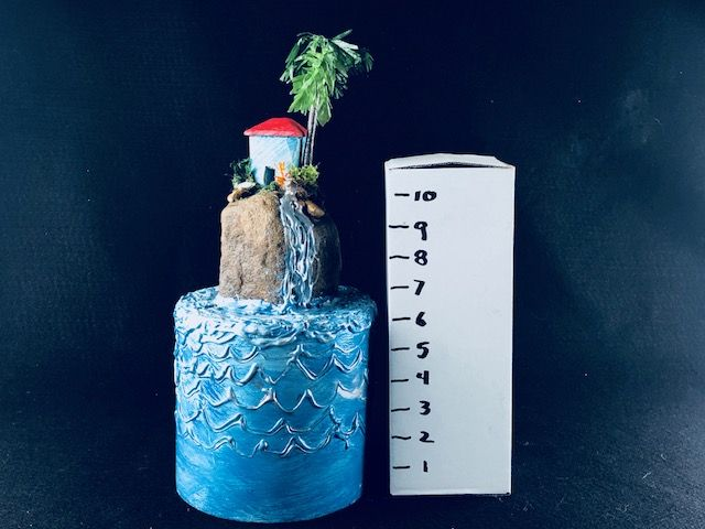 ISLAND COTTAGE, a Full Size, One of a Kind Cremation Art Urn for Human or Pet Ashes