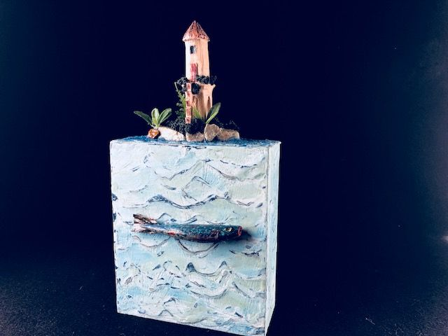 ISLAND, a One of  a Kind, Mid-Size Cremation Art Urn for Human or Pet Ashes; a Beloved Beachcomber