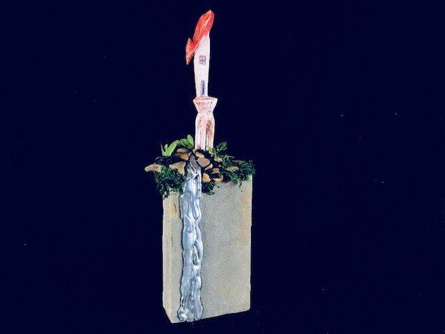"""""""HIGH ON A MOUNTAIN"""" is a Contemporary Keepsake or Sharing Urn for Human Child or Small Pet Ashes, a Unique, One of a Kind Cremation Art Urn."""