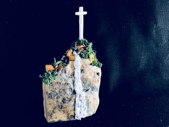 SOLID ROCK,  a Lovely Christian-oriented Keepsake or Sharing Cremation Art Urn for Human or Pet Ashes