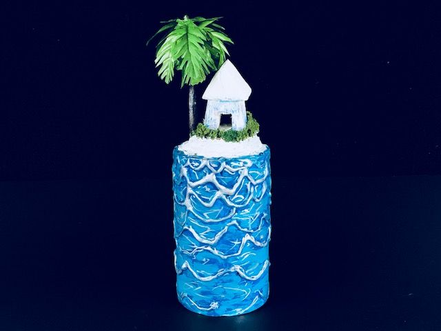 """ISLAND HOME"" is a Unique Tropical Paradise Small or Sharing Cremation Urn for Human or Pet Ashes"