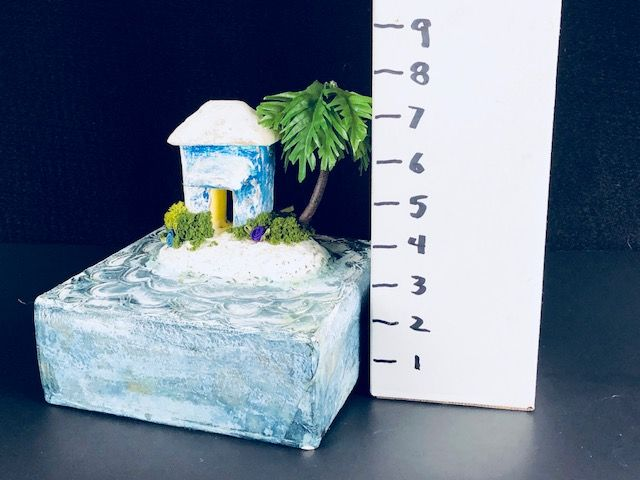 """FLOWER ISLAND,"" a Unique, Creative Tropical themed Keepsake or Sharing Urn Ideal for Human Child or Small Pet Ashes, a One of a Kind Cremation Art Urn."