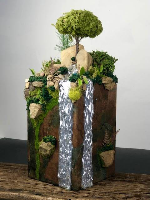 SILVER FALLS, a Unique, Handcrafted, Full Size Cremation Art Urn for Human or Pet Ashes