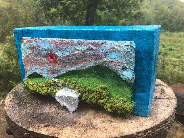 MOUNTAIN WALK,  a One of a Kind, Full Size Cremation Art Urn for Human or Pet Ashes