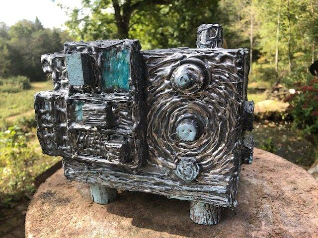 SILVER SEA, a Unique, Full Size Cremation Art urn for Human or Pet Ashes