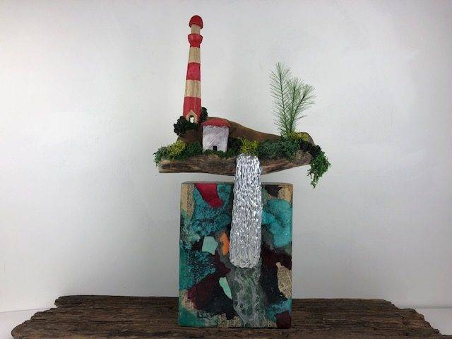 LIGHTHOUSE FALLS, a Unique, One of a Kind, Full Size Cremation Art Urn for Human or Pet Ashes