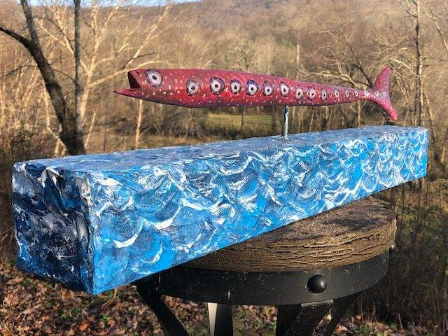 RED FISH, a Creatively Unique, One of a Kind, Full Size Cremation Art Urn for Adult Human Ashes