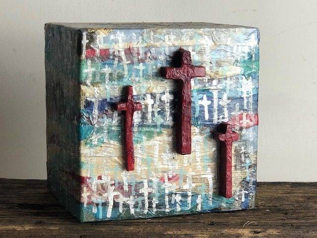 THREE CROSSES, a Unique, Faith-based, Full Size Cremation Art Urn for Adult Human Ashes