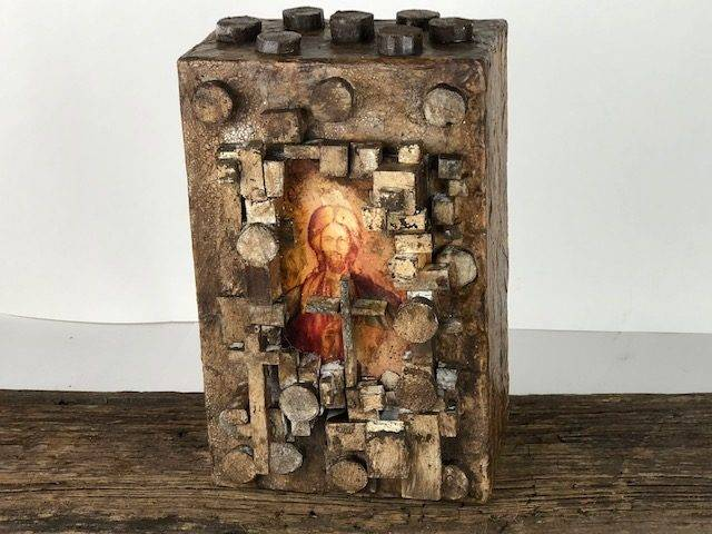 BLESSED, a Christian-oriented, One of a Kind, Full Size Cremation Art Urn for Adult Human Ashes