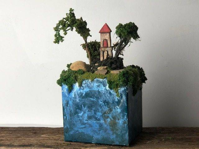 IN THE SKY, a Unique, Handmade, Full Size Cremation Art Urn for Adult Human or Pet Ashes