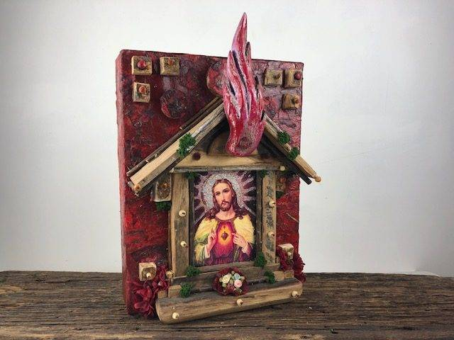 SACRED HEART, a Christian, Full Size, Unique, One of a Kind Cremation Art Urn for Human or Pet Ashes