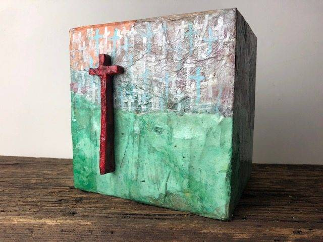 CROSSES-3, a Christian-based, Unique, One of a Kind, Full Size Cremation Art Urn for Human or Pet Ashes