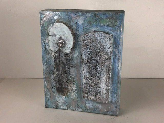 FEATHER IN THE SKY,  a One of a Kind, Full Size Cremation Art Urn for Human or Pet Ashes