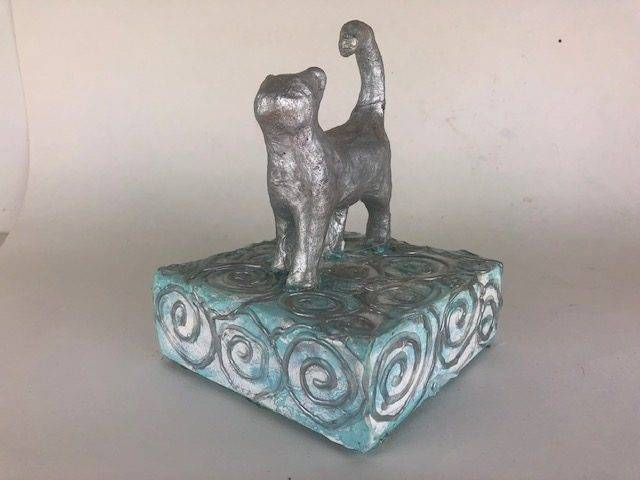 SILVER KITTY,  an Artistic, One of a kind, Keepsake or Small Cremation Art Urn for Cat Ashes