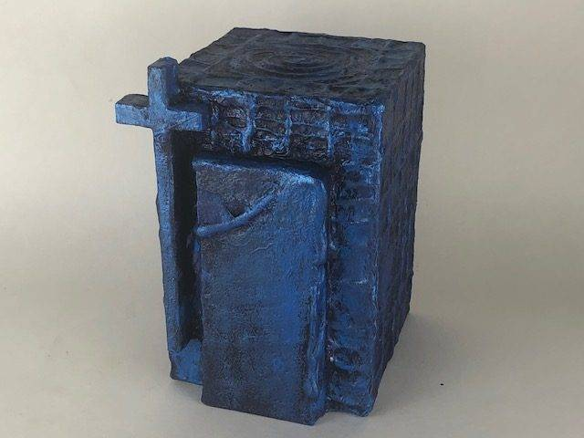 TRUE BLUE-2, a Faith-based, Unique, Full Size Cremation Art Urn for Human or Pet Ashes