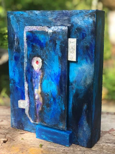 BLUE and SILVER, a Uniquely Artistic, Full Size Cremation Art Urn for Human or Pet Ashes