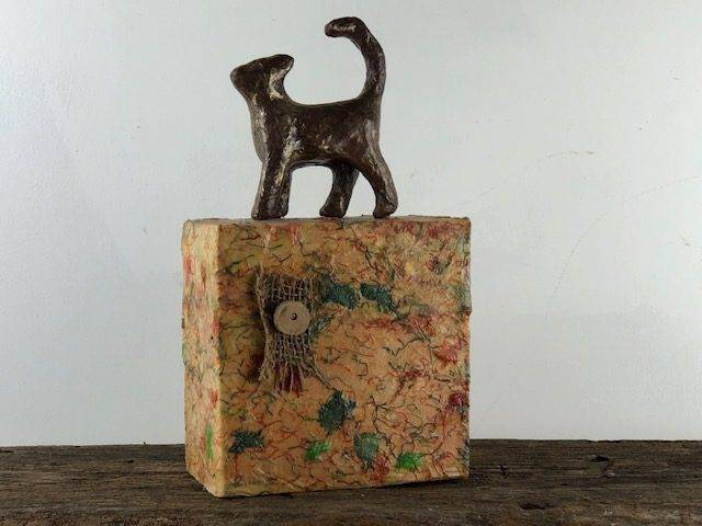 TOP CAT, a Whimsical, Unique, One of a Kind Cremation Art Urn for Feline Ashes