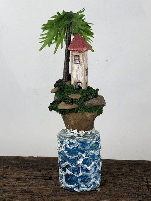 LITTLE ISLAND, a Unique, One of a Kind, Tropical Keepsake or Sharing Cremation Art Urn for Human or Pet Ashes