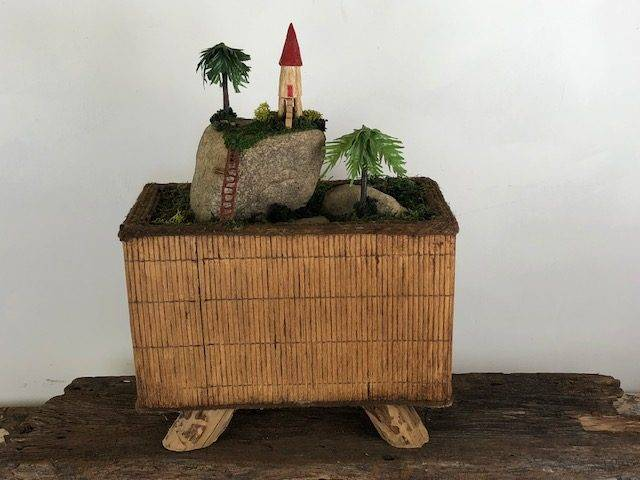 ISLAND REST, a Unique, Whimsical, Full Size Cremation Art Urn for Human or Pet Ashes