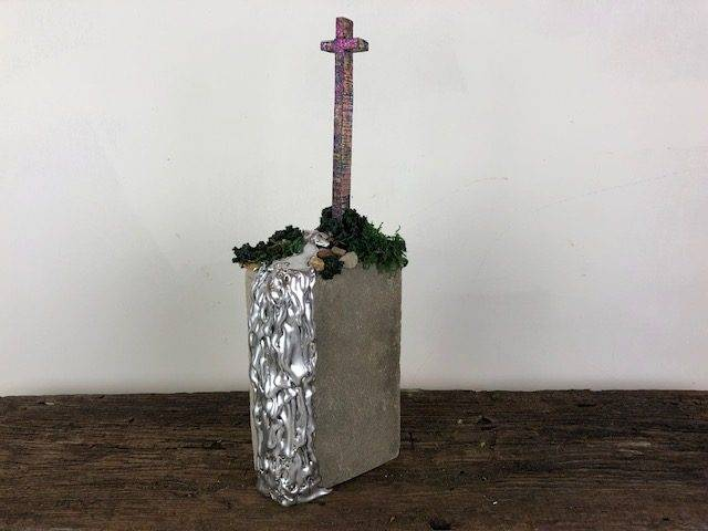 HEAVENLY FALLS, a Unique Stone, Faith-based Keepsake or Sharing Cremation Art Urn for Human or Pet Ashes