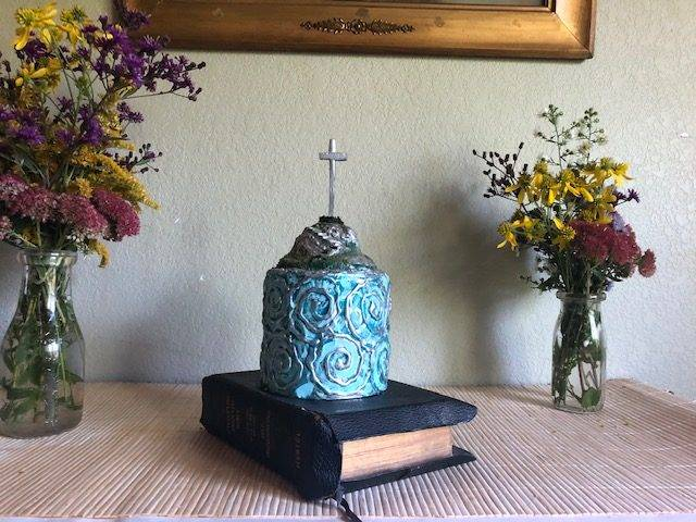 FATHER'S DELIGHT,  a Christian, Small or Sharing Cremation Art Urn for Human or Pet Ashes