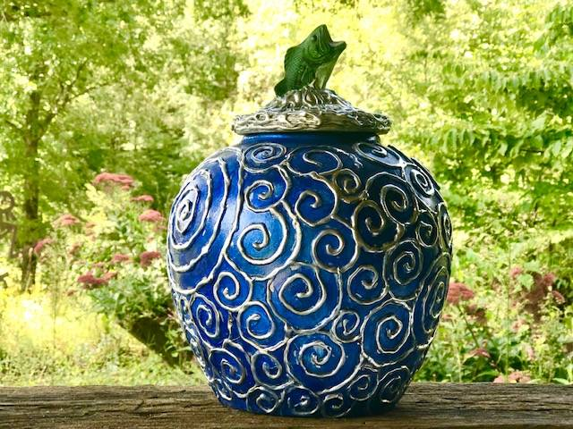 HEADSTREAM, a Beautiful, Unique, Full Size Ceramic Cremation Art Urn for Human or Pet Ashes