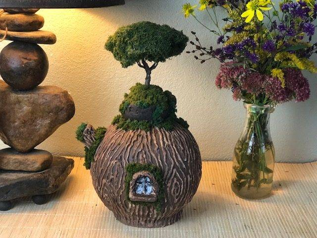 IVY HILL, a Whimsical, One of a Kind, Full Size Ceramic Cremation Art Urn for Human or Pet Ashes