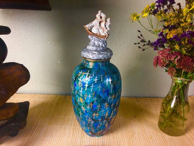 BLESSED MARINER, a Unique,  Ceramic, Mid-Size or Sharing Cremation Art Urn for Human or Pet Ashes