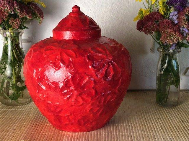 RED DAISY, a Unique, Full Size Ceramic Cremation Urn for Human or Pet Ashes