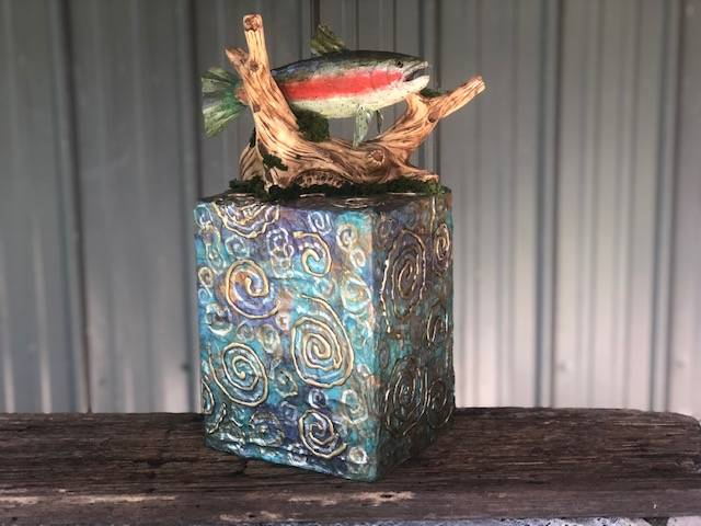 FISHERMAN'S DELIGHT, a Beautiful, Unique, Full-Size Cremation Art Urn for Human or Pet Ashes