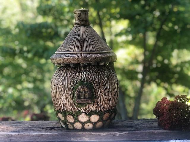 COTTAGE ON THE MOOR, a One-of-a-Kind, Full-Size Ceramic Cremation Art Urn for Human or Pet Ashes