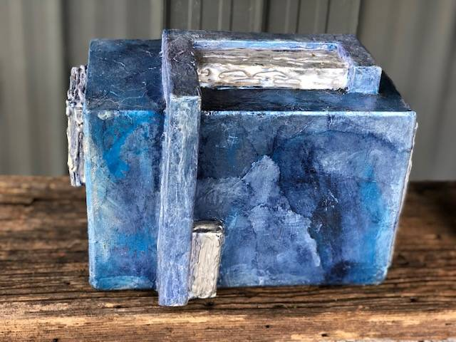 BLUE AND SILVER 2, a Unique, Full Size Cremation Art Urn for Human or Pet Ashes