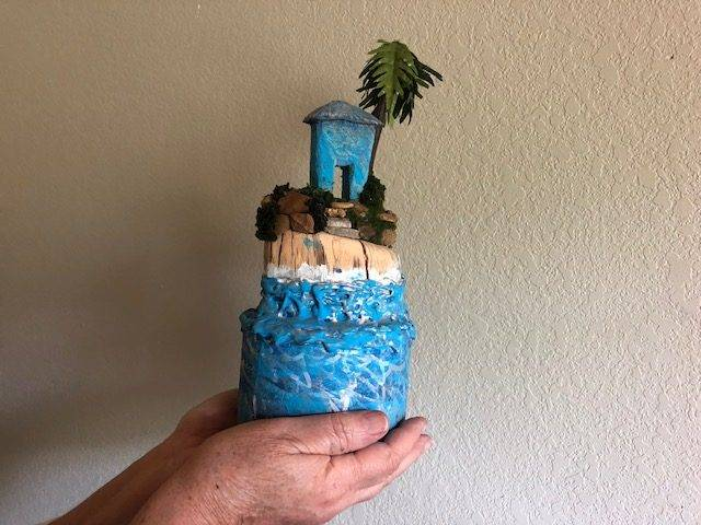 ISLAND HIDE-AWAY, a Whimsical, Small or Sharing Cremation Art Urn for Human or Pet Ashes