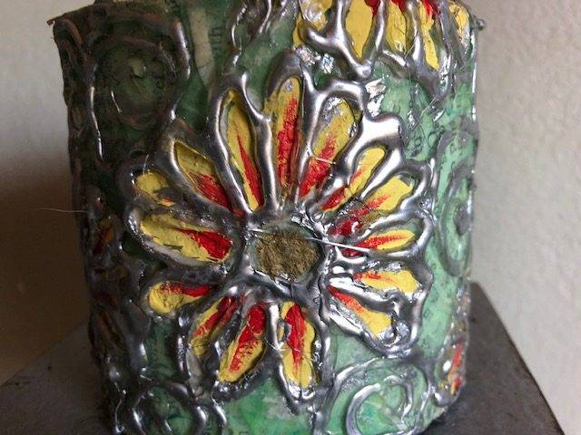 DAISY POWER, a Unique, One-of-a-Kind, Small or Sharing Cremation Art Urn for Human or Pet Ashes