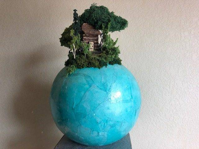 BLUE CABIN, a Unique, One-of-a-Kind, Ceramic Cremation Art Urn for Human or Pet Ashes