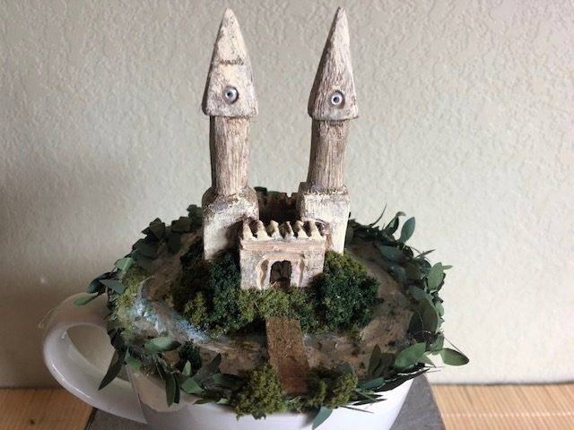 CASTLE KNOLL, a Unique, Whimsical, Keepsake of Sharing Cremation Art Urn for Human or Pet Ashes