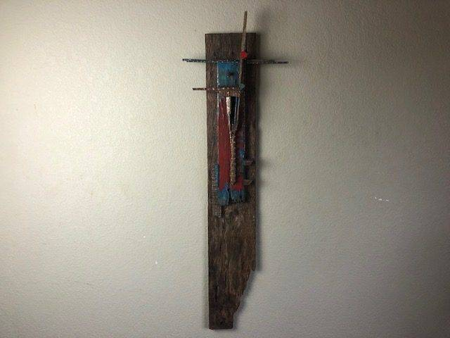 BLUE ON RED, Unique, One-of-a-Kind, Way Cool Art Wall Decor
