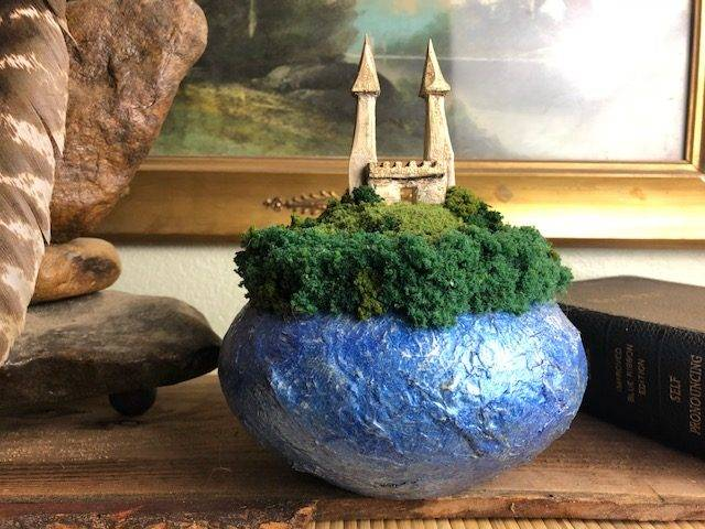 CASTLE BLUE, a Unique, Small or Sharing Cremation Art Urn for Human or Pet Ashes