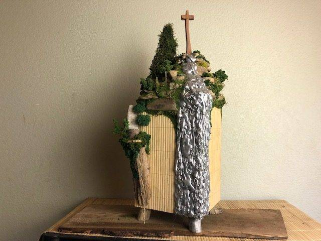IN THE GARDEN,  a Unique, Full-Size, Christian Cremation Art Urn for Human or Pet Ashes