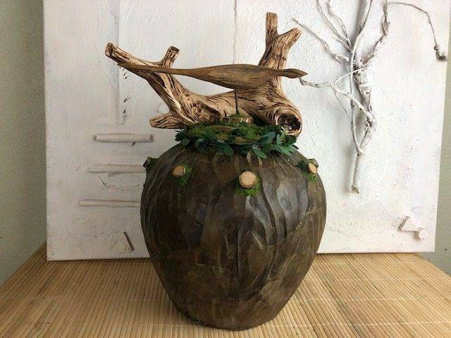 BIRD IN A BUSH, a Unique, One-of-a-Kind, Full-Size Ceramic Cremation Urn for Human or Pet Ashes