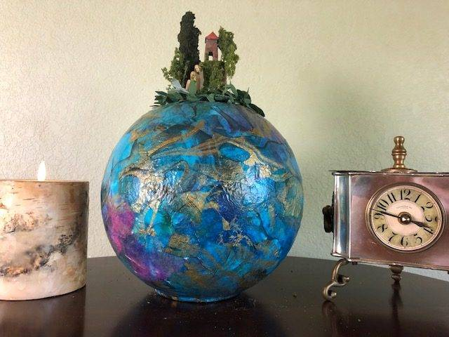 BLUE HEAVEN,  a Unique, Full-Size Ceramic Cremation Urn for Human or Pet Ashes