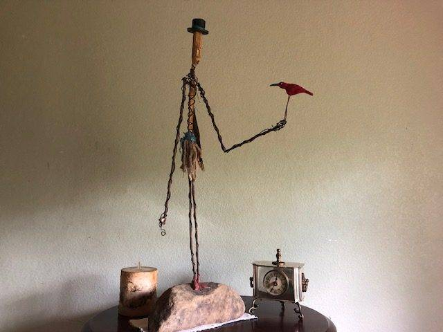 RED BIRD, a Unique, Whimsical Floor or Table Sculpture, or Stone Keepsake Cremation Urn